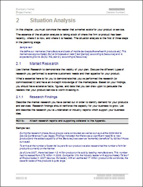 situational analysis template marketing plan template 40 page ms word template and 10 excel spreadsheets