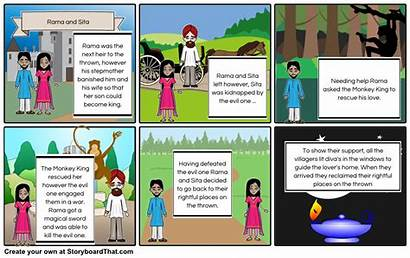 Rama Sita Storyboard King Diwali Monkey Activities
