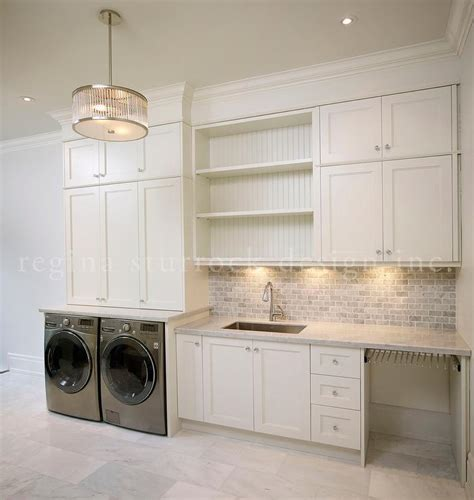laundry room  gray mini brick backsplash