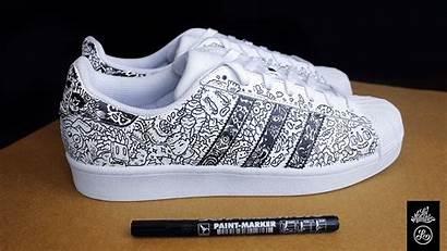 Shoes Doodle Custom Drawn Hand Superstars Sides