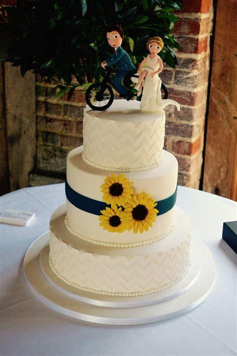 tier chevron  sunflower wedding cake wedding cakes