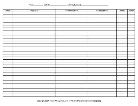 vehicle mileage form free printable mileage log