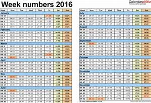 weekly number calendar 2016 weekly calendar template With numbers schedule template