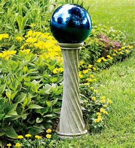 stainless steel gazing ball with 23 quot h twisted stand gazing balls
