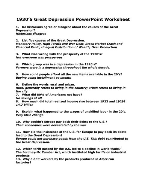 Startop subjects are history, law and politics, and social sciences. The Great Depression Worksheet Answer Key — db-excel.com