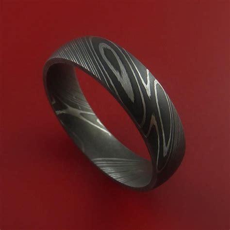 titanium steel ring damascus steel ring acid finish genuine craftsmanship