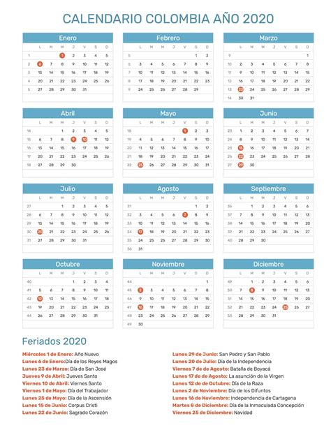 calendario de colombia ano  feriados