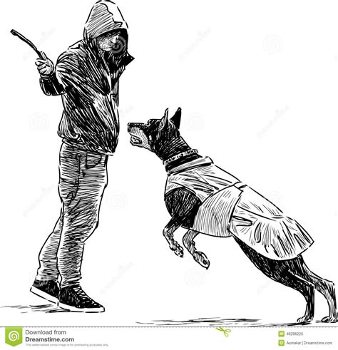 trainer   dog stock vector illustration  outdoor