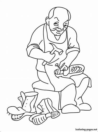 Drawing Shoemaker Coloring Pages Cobbler Line Shoe