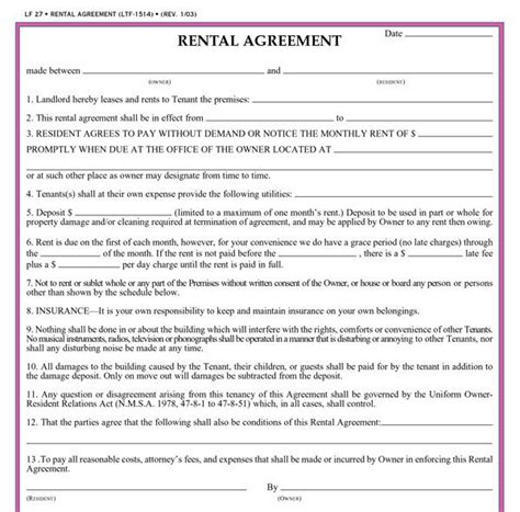 lease agreement sample free printable rental agreements real estate forms
