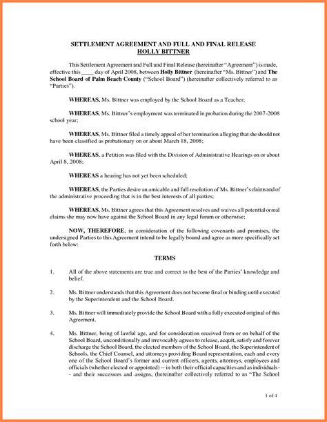 full  final settlement agreement sample ichwobbledichcom