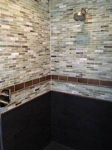 a spectacular shower using 1x4 recycled glass tiles and With recycled glass tiles bathroom