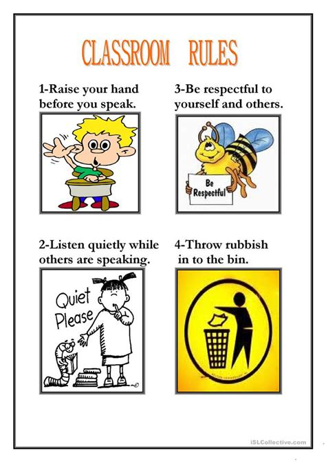 33 Free Esl Classroom Rules Worksheets