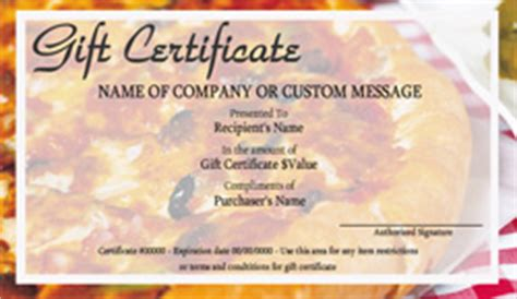 pizza shop gift certificate templates easy   gift