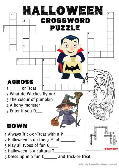 halloween crossword puzzle free teaching resources
