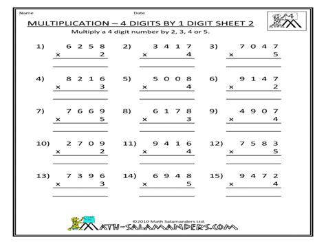 multiplication four digits by one digit worksheet for 3rd 4th grade lesson planet