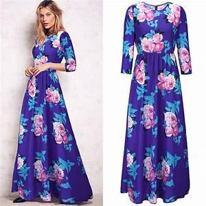 Vestido longo vintage chiffon print autumn dress 2015 robe for Robe de soir