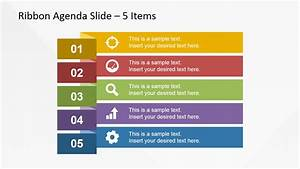 5 Items Ribbon Agenda Slide Template for PowerPoint ...