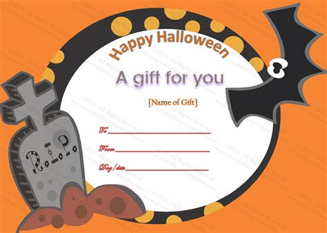 happy halloween gift certificate template  images