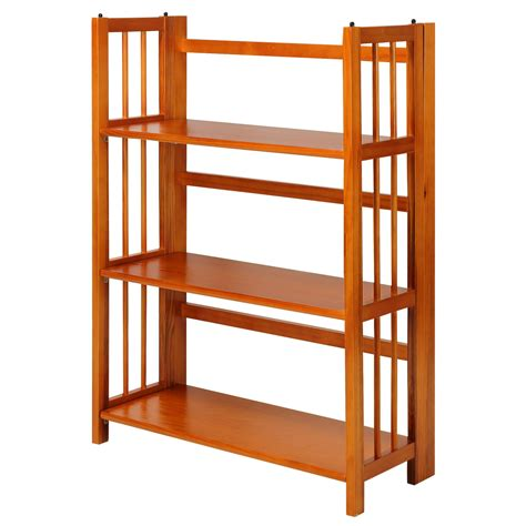 Folding Wood Bookcase by Casual Home 3 Shelf Folding Stackable Bookcase
