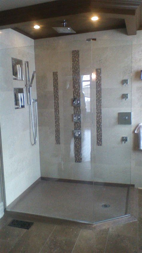 custom shower base   cultured granite  threshold