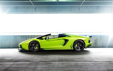 lamborghini aventador lp  green supercar side view