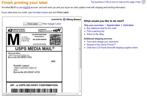 print shipping labels choosing ebay shipping