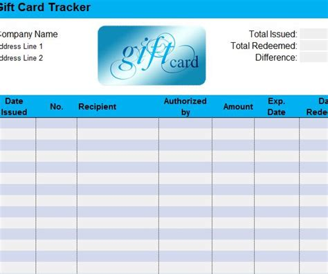 gift card sheet my excel templates