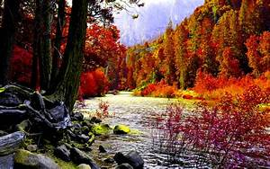 Awesome Autumn River Wallpaper Background 2574 #8392 ...