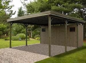 Carport Avec Abri : carport double en bois avec atelier toit plat france abris france ~ Melissatoandfro.com Idées de Décoration