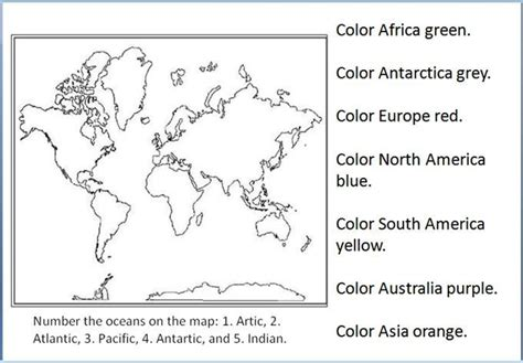 geography geography worksheets continents and oceans