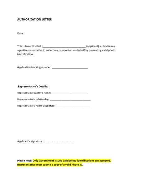 passport collection authorization letter