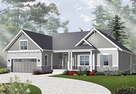 plan dr airy craftsman style ranch   basement house plans craftsman style house