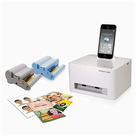 smartphone photo cube printer photo cube compact printer at brookstone buy now