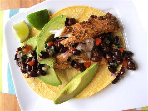 fish tacos  black bean salad recipe relish