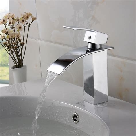 Cool Modern Bathroom Faucets by Elite Modern Bathroom Sink Waterfall Faucet Chrome Finish