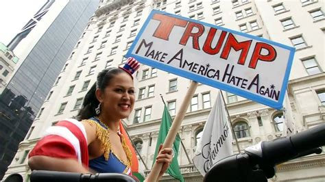 trump donald protesters hate protest british muslim against bloody hell candidate republican trumps presidency supremacist rallies denounce york comments supporters