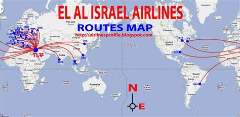 routes map el al israel airlines routes map