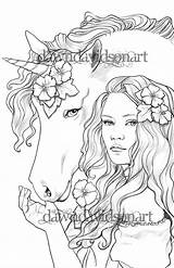 Coloring Pages Adults Friends Books Unicorn Adult Colouring Printable Sheets Fantasy Three Drawings Fairy sketch template