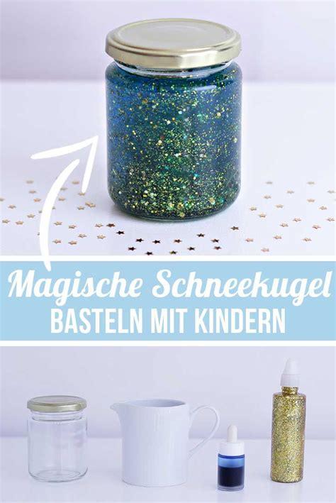 basteln mit kindern calming jar diy ideen magische schneekugel bastelideen kindergarten