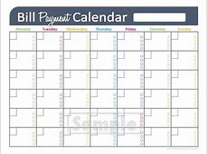 Bill Pay Calendar 2017 Printable Printable Calendar 2018