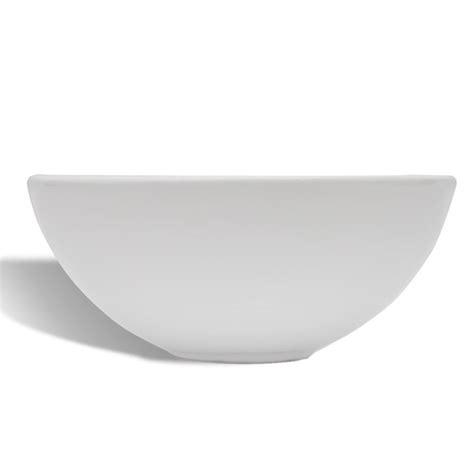 Ceramic Bathroom Sink Basin White Round Uk