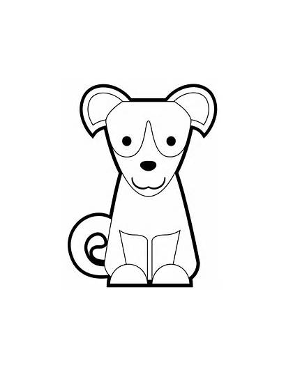 Dog Sitting Puppy Coloring Cartoon Pages Drawing
