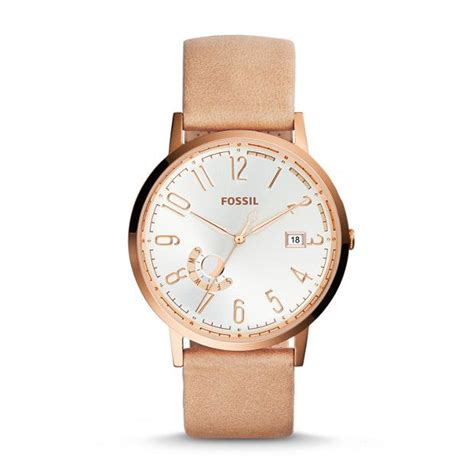 Fossil Fs02 Gold Plat White fossil quot vintage muse quot gold plate and leather