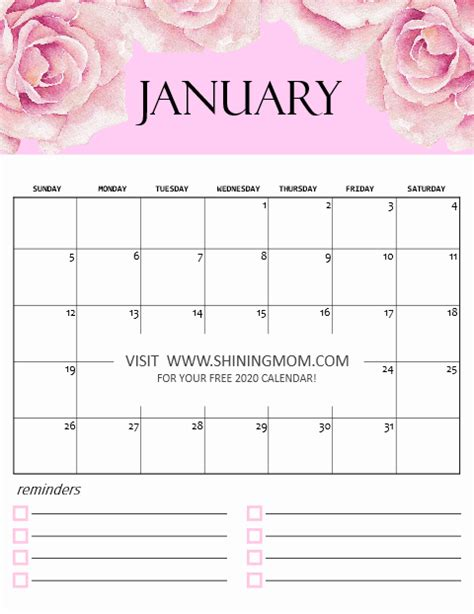 calendar  printable  cute monthly designs  love