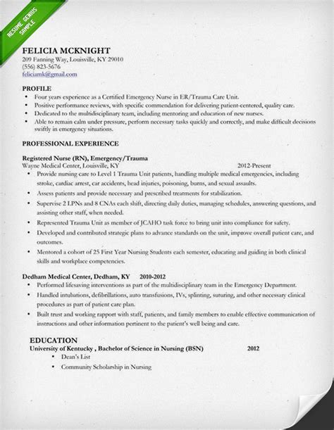 Nurses Resumes nursing resume sle writing guide resume genius