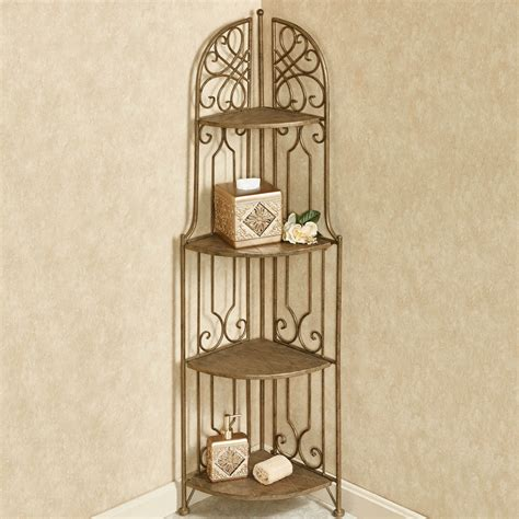 Wrought Iron Corner Etagere by Abbianna Indoor Outdoor Four Tier Corner Etagere