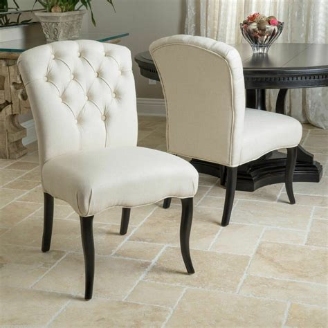set   dining room elegant button tufted linen fabric