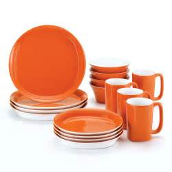 Dining Room Sets Walmart by Rachael Ray Round And Square Orange Dinnerware Set Of 16