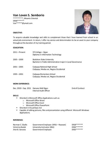 resume format for ojt fre sle resume for ojt j sle